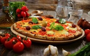 Картинка вода, масло, еда, сыр, овощи, пицца, помидоры, оливки, блюдо, чеснок, редиска