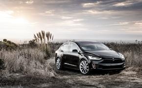 Картинка концепт, Black, Tesla, Model X, тесла, электрокар