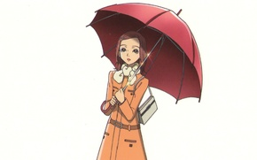Картинка белый фон, сумка, плащ, красный зонт, нана, nana, hachi, nana komatsu, by ai yazawa