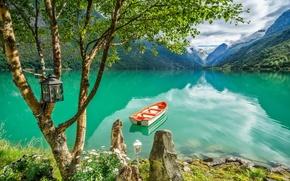 Обои фонарь, берёза, дерево, лодка, горы, озеро, Норвегия, Стрюн, Norway, Stryn, Lake Oldevatnet