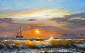 Картинка море, волны, небо, облака, пейзаж, закат, парусник, waves, sky, sea, landscape, sunset, clouds, солнечный свет, …