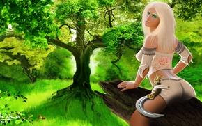 Картинка girl, fantasy, wood, tree