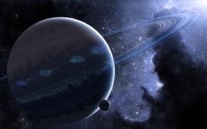 Картинка космос, планеты, кольца, space, nebula, planet