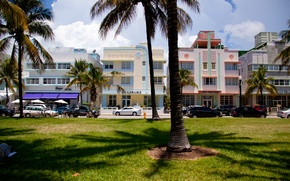 Картинка пальмы, дома, Майами, Флорида, Miami, автомобили, florida, отели, vice city, South Beach