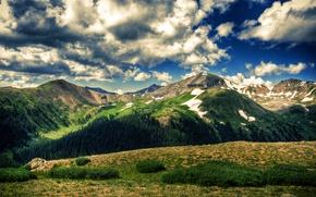 Обои поле, небо, облака, деревья, пейзаж, горы, природа