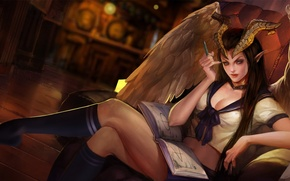 Картинка девушка, рога, вампир, hon, High School, Heroes of Newerth, Succubus, Sweetheart