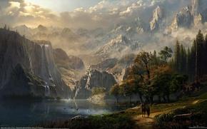 Обои лес, девушка, горы, озеро, замок, конь, эльф, водопад, всадница, фэнтези, арт, fantasy, CG wallpapers, Idyll's ...