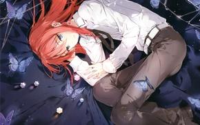 Картинка бабочки, сияние, рыжий, парень, ремень, голубые глаза, art, белая рубашка, Minato, Houkago no Pleiades, Внеклассные …