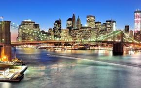 Картинка Нью-Йорк, панорама, Бруклинский мост, ночной город, Manhattan, New York City, Brooklyn Bridge, East River, пролив …