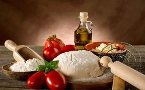 Картинка масло, хлеб, помидоры, мука, тесто