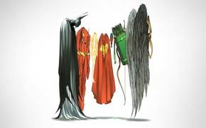 Картинка Wonder Woman, Batman, minimalism, wings, Superman, superheroes, arrows, comic, Green Arrow, DC Comics, Flash, Justice …