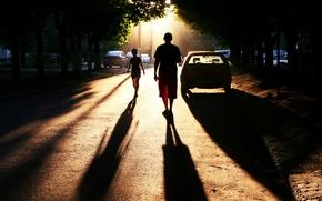 Картинка автомобили, Photo, perfect setting, дорога, тени, люди, город, улица, town, фото
