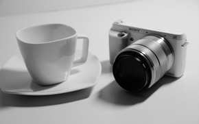 Картинка white, black, sony, night, camera, macro, cup, mood, situation, relaxing, nex