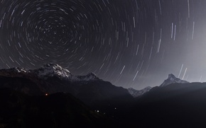 Картинка звезды, ночь, выдержка, аннапурна, гималаи, непал