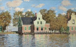 Обои Клод Моне, картина, Дома на Реке Заан в Зандаме, пейзаж