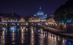 Обои ночь, мост, огни, река, Рим, Италия, Тибр, собор Святого Петра
