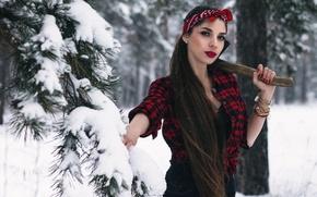 Обои Света, девушка, топор, лес, Ivan Kopchenov