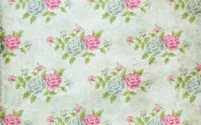 Картинка фон, розы, wallpaper, орнамент, vintage, texture, цветочный, pattern, paper, floral