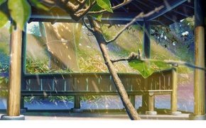 Картинка капли, скамейка, парк, дождь, беседка, art, kotonoha no niwa, makoto shinkai, сад изящных слов