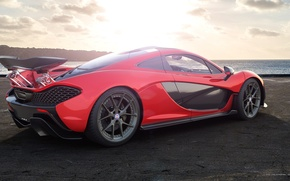 Картинка McLaren, Red, Sun, Sunset, Sunrise, Sea, Supercar, Rear