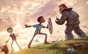Обои защитник, дети, арт, столкновение, scrapper, Капитан Америка, герой, captain america