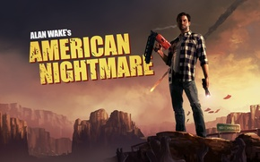 Обои горы, монстры, писатель, alan wake, american nightmare, алан вейк
