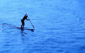 Обои море, спорт, доска, весло