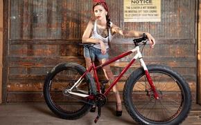 Картинка девушка, велосипед, спорт