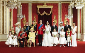 Обои свадьба, детки, мальчики, Миддлтон, тетеньки, дяденьки, Елизавета, семейный портрет, Кетрин, принц Уэльский, Кейт, Гарри, девочки