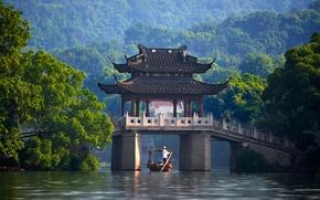 Обои china, китай, река, мост, павильон, лодка