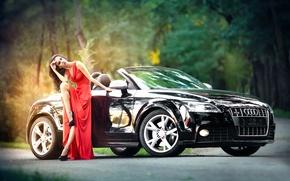 Картинка авто, девушка, макияж, платье, туфли