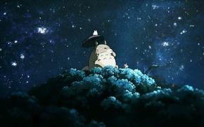 Картинка ночь, дерево, Мой сосед Тоторо, My Neighbor Totoro, пьют чай