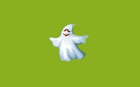 Обои минимализм, зеленый, белый, призрак, ghost, привидение, улыбка