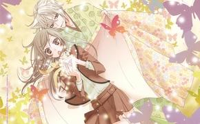 Картинка бабочки, узор, удивление, школьница, кимоно, двое, art, демон-лис, tomoe, nanami momozono, kamisama hajimemashita, julietta suzuki