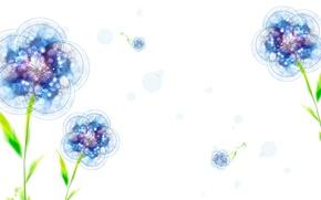Картинка листья, цветы, синий