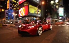 Обои Красная, Движение, Огни, Машина, Город