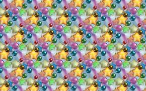 Картинка фон, праздник, текстура, Новый год, звёздочки, новогодние шарики