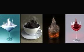Обои рюмка, креатив, чаша, city, стакан, напитки, город