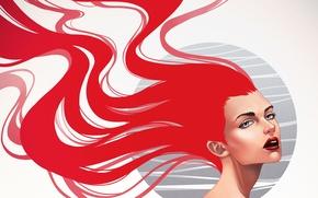 Картинка взгляд, девушка, фон, макияж, арт, губы, плечи, красные волосы