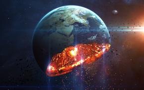 Картинка planet, destruction, sci fi, disintegration