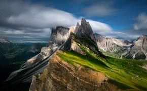 Картинка небо, облака, свет, горы, дома, склон, тени, Доломитовые Альпы