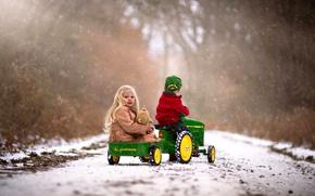 Картинка зима, дорога, осень, лес, девушка, деревья, Природа