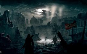Обои ассасин, ночь, Assassin's Creed Berlin WW2, город, берлин