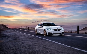 Картинка BMW, Car, Front, Sunset, White, Sunrise, Mountains, Road, Wheels, Avant, M235i, Garde, San Jose
