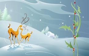 Обои нежность, снег, зима, олени, абстракция