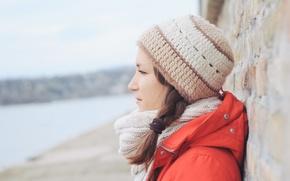 Картинка девушка, шапка, профиль, шарф. косичка