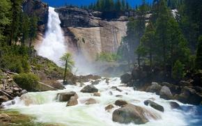 Картинка небо, деревья, горы, река, камни, обрыв, скалы, водопад, поток