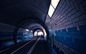 Картинка дорога, свет, пути, огни, люди, плитка, тоннель, snipes