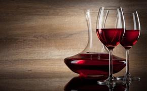 Обои тень, вино, красное, бокалы, декантер