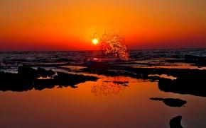Картинка море, волны, солнце, закат, всплеск
